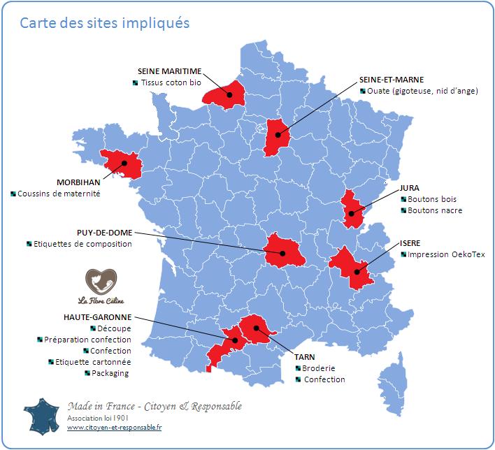 Carte de sites impliqués La Fibre Câline