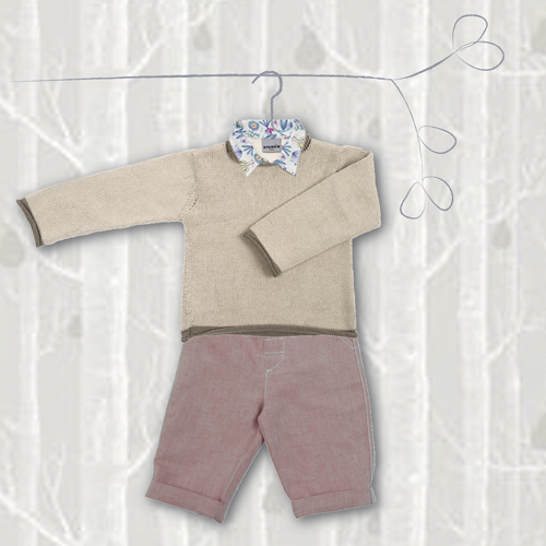 1 stylisé chemise + pull + pantalon