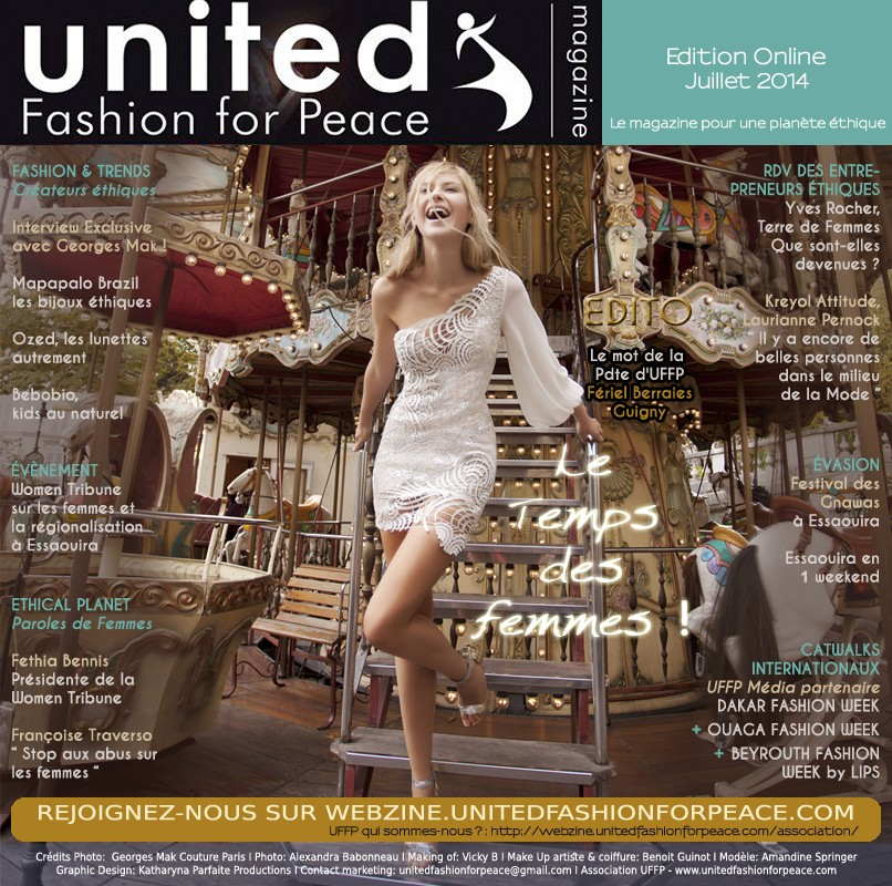 Couverture francophone internationale UFFP webzine de juillet 2014. Stylisme Georges Mak Paris