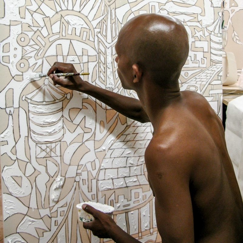 Victor Matthews artiste afro américain en plein travail. courtesy of ST- ART 2015