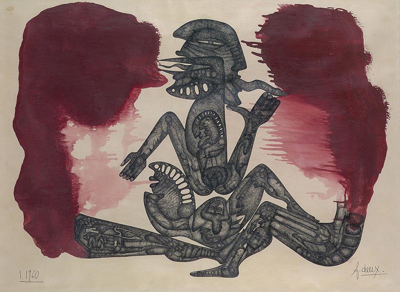 DEUX Fred. Je Feu, 1960, laque et encre de Chine reproduit sur livre, 72x98cm ©atelier Démoulin