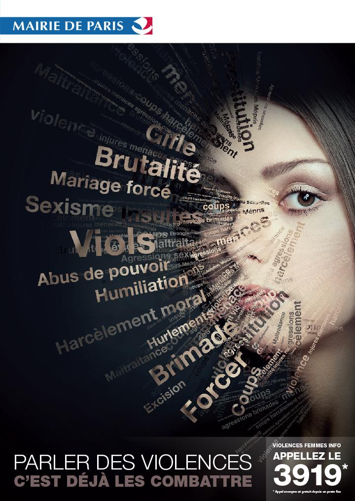 Affiche Violences faites aux Femmes Mairie de Paris